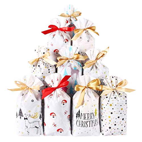 50 Pcs Christmas Plastic Gift Bags-Xmas Party Favor Bags-Drawstring Candy Goodies Food Storage Package-Merry Christmas Santa Claus Snowman Elk X-mas Tree Supplies (Party Food Christmas)