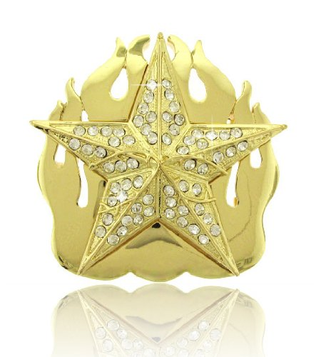 - HIP HOP BLING ICED OUT GOLD TONE Fire Star BELT BUCKLE