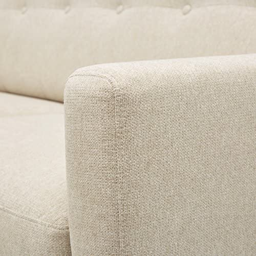 Rivet Sloane Mid-Century Modern Loveseat with Tufted Back, 64.2 W, Shell