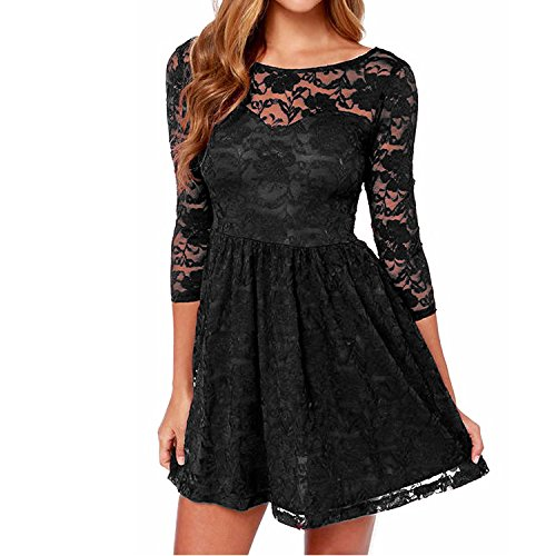 lace 3/4 sleeve dress black - 9