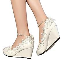 Getmorebeauty Women's Wedge Flowers Pearls Mary Janes Wedding Bridal Shoes