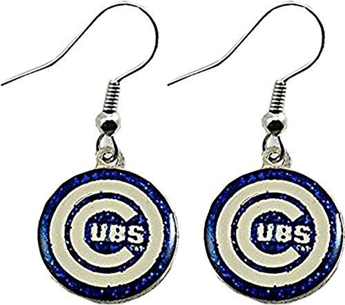 Mlb Round Earrings - Chicago Cubs Ladies Earrings Glitter Dangler 13167