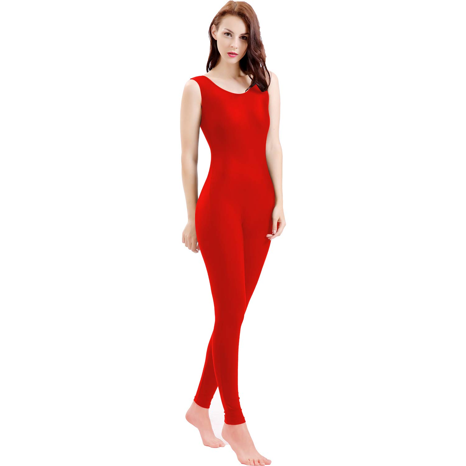 Gaibest Women Lycra Spandex Sleeveless Tank Dance Unitard Bodysuit red by GAIBEST