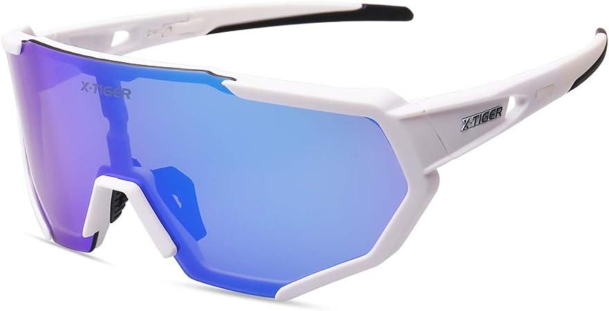 X-TIGER Gafas Ciclismo CE Certificación Polarizadas con 3 Lentes Intercambiables UV 400 Gafas,Corriendo,Moto MTB Bicicleta Montaña,Camping y ...