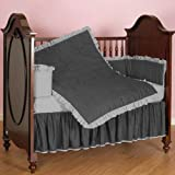 Nursery Baby Ruffle Reversible Cradle Bedding Set 100% Egyptian Cotton 300 TC 3-Piece Set Fitted Sheet, Comforter,Bumper (Gray/Silver,Cradle)