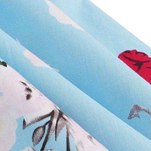 Volante Cocktail Estampado Corto Herben Print Redondo Vintage Verano Beauty 4XL Lover Sin Vestido Cuello Azul Hepburn Falda Manga Floral S Mujer EOawxqX