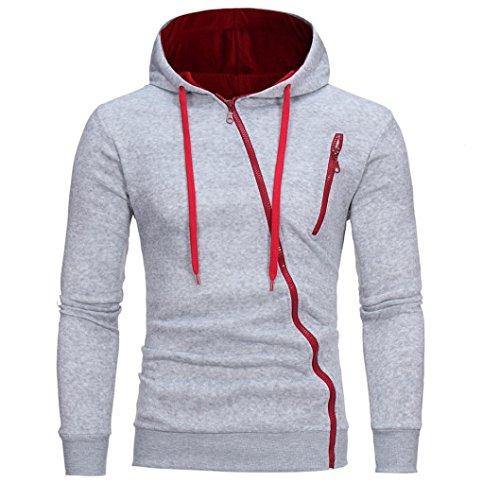 Sinfu Men's Blouse Long Sleeve Hoodie Hooded Sweatshirt Tops Outwear (L, Gray)