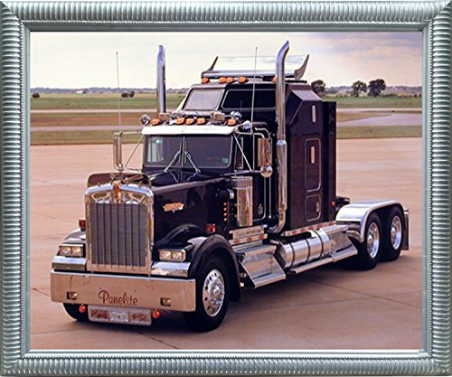 Black Kenworth Panelite Big Rig Truck Wall Decor Silver Framed Picture Art Print (Impact Rig)