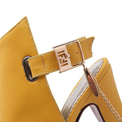ENMAYER Frauen-Plattform-Quadrat-Fersen-Wölbungs-Schuhe Western-hohe Absätze Art- und Weisepeep-Zehe-Sandelholze Gelb