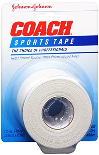 JOHNSON & JOHNSON COACH Sports Tape 1-1/2 Inches X 10 Yards (Pack of 11)