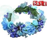 Vivivalue Handmade Rose Flower Headband Hair Wreath Halo Floral Garland Crown Headpiece with Ribbon Boho Festival Wedding Party Blue