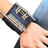Super Strong Magnetic Wristband Comfortable Design with Breathable Material for Holding Tools Embedded with Super Powerful Magnets Blue Unique Tool Gift for DIY Handyman(CTD05-4)