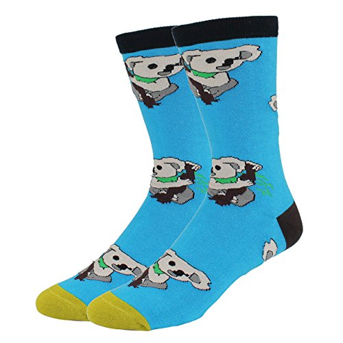 Happypop Men's Novelty Crazy Cute Koala Crew Socks Funny Animal Cotton Dress Socks in Blue -