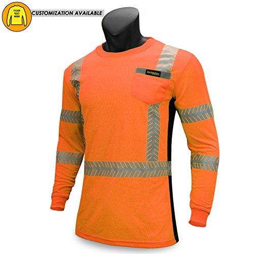 KwikSafety RENAISSANCE MAN | Class 3 Long Sleeve Safety Shirt | 360° ANSI Compliant Work Wear | Hi Vis Moisture Wicking Silver Fishbone | Men Women Construction Exercise Security | Orange Small