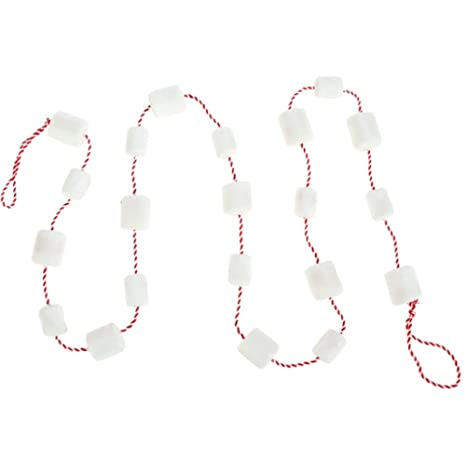 Marshmallow On Red Striped Roping Christmas Tree Wreath Mantle Garland 6 Feet Long