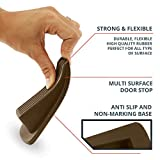 Home Premium Door Stopper, Heavy Duty Flexible Rubber Door Stop Wedge, Works on All Surfaces, Non Scratching, Strong Grip - Gaps up to 1.2 Inches (4 Pack, Brown)