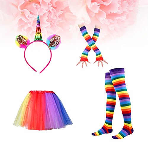 LUOEM Rainbow Tutu Skirt Suit Cosplay Costume with Headband Arm Warmer Leg Stocking Ruffle Tiered Tutus Dress For Kids Girls Carnival Party by LUOEM (Image #8)