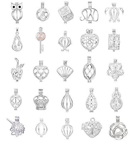 10pcs Mix Jewelry Making Supplies Silver Plated Bead Cage Pendant - Add Your Own Pearls, Stones, Rock to Cage,Add Perfume Essential Oils to Create a Scent Diffusing Pendant Christmas Charms (Pearl Stone)