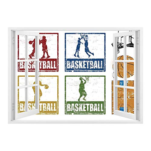 - SCOCICI Creative Window View Home Decor/Wall Décor-Sports Decor,Collection of Vintage Rubber Stamp Print Style Illustration with Basketball Players,Navy Green Red/Wall Sticker Mural