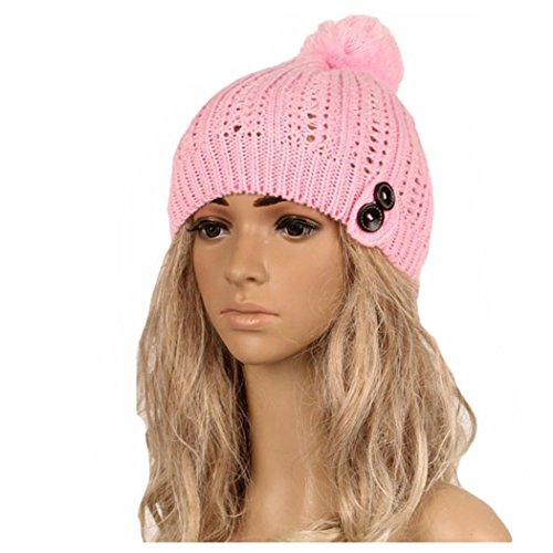 Winter Knitted Hats, Inkach Women Button Slouchy Knitting Beanie Hip Hop Caps Warm Ski Hat (Pink) (Knitting Ski Hat)