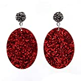Big Ellipse Shinning Pendant Glass Rhinestone Crystal Drop Earrings for Women Party Dangle Statement