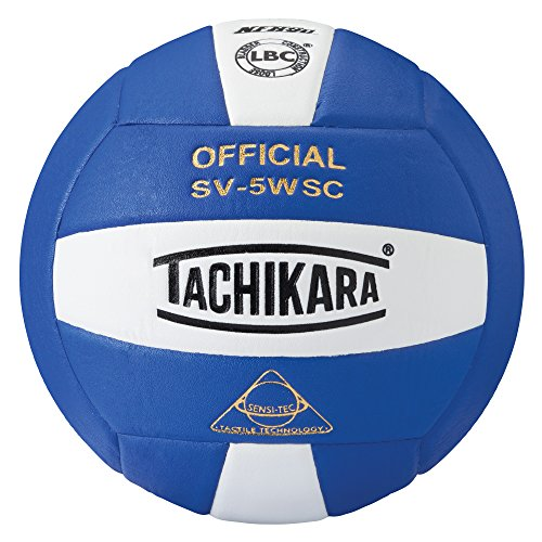 [Tachikara Sensi-Tec Composite High Performance Volleyball (White/Royal)] (High School Practice Ball)
