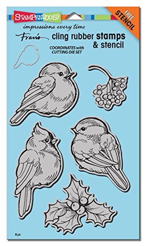 STAMPENDOUS CRS5092 Cling Rubber Winter Tweets Stamp Set with (Bird Rubber Stamp)