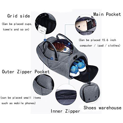 Sporttasche Schultertaschen, 19 Inch(22L) Taschen Handgepäck mit Schuhfach Fundamentals Fitnesstasche Weekender Tasche für Damen und Herren
