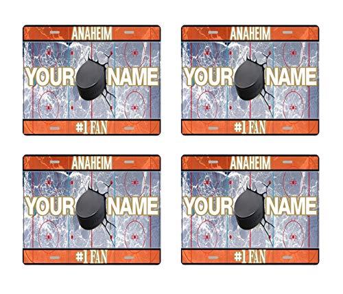 Glass Set Anaheim Ducks - BRGiftShop Personalize Your Own Hockey Team Anaheim Set of 4 Square Beverage Coasters