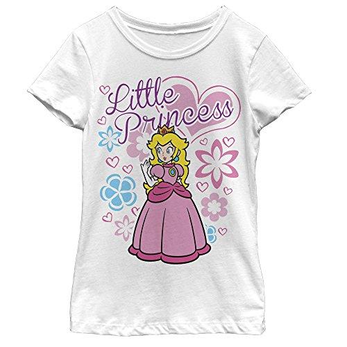 Fifth Sun Nintendo Girls' Little Princess Peach White T-Shirt