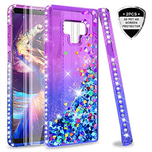 Note 9 Glitter Case with 3D PET Screen Protector [2 Pack] for Girls Women,LeYi Bling Liquid Quicksand TPU Protective Phone Case for Samsung Galaxy Note 9 Note9 Purple/Blue