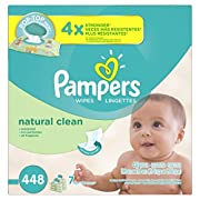 Pampers Natural Clean Unscented Water Baby Wipes 7X Pop-Top Packs, 448 Count