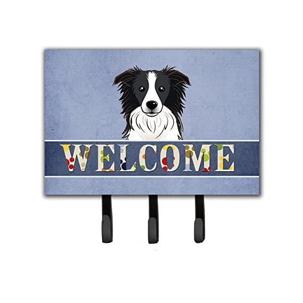 Caroline's Treasures BB1427TH68 Border Collie Welcome Leash or Key Holder, Triple, Multicolor 1