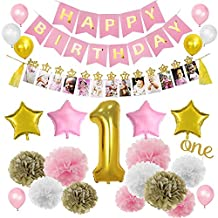 Pink Gold 1st Birthday Girl Decorations Kits, Mothly Milestone Photo Banner from Newborn to 12 Months for Baby's First Birthday Decorations
