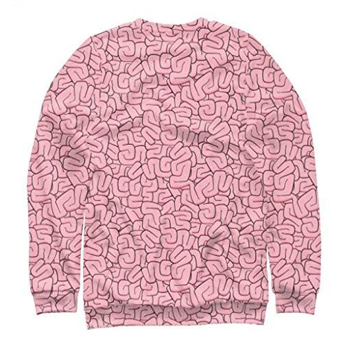 [해외]RNUYKE Mens Casual Scary Halloween 3D Printed Long Sleeve Shirt Round Neck Blouse Top Pullovers / RNUYKE Mens Casual Scary Halloween 3D Printed Long Sleeve Shirt Round Neck Blouse Top Pullovers Pink