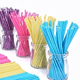Colored Lollipop Sticks 100 count 6 inch (Blue, White, Purple, Yellow, Rose-red) (100)