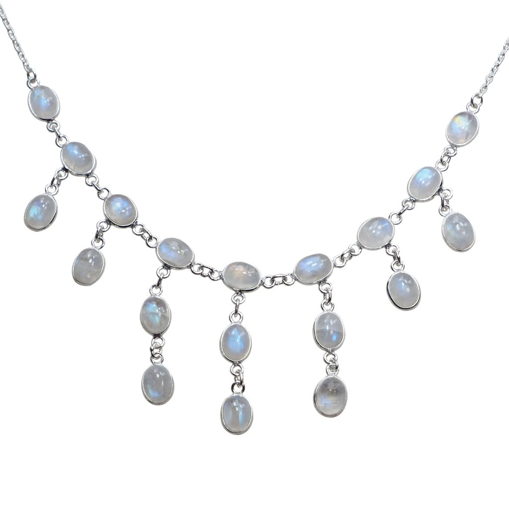 CZgem 68CT Nature Moonstone 925 Sterling Silver Big Necklace Women's Jewelry Party Jewelry Gift 16.5'' - X1247