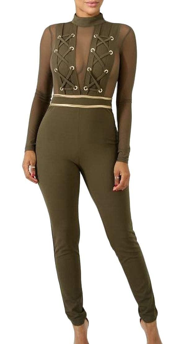 pipigo Womens Bodysuit High Rise Sleeveless V Neck Slim Fit Wide Leg Jumpsuit