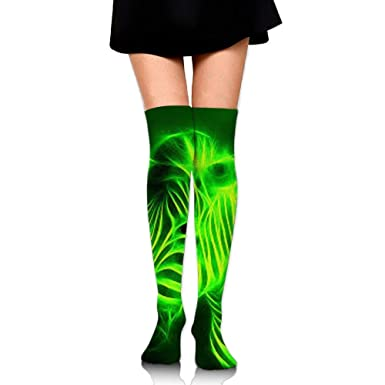 e742d65c12ec Amazon.com: SJZFJQ Over the Knee Thigh High Socks,Glowing Zebra Print High  Boot Stockings Cotton Leg Warmers: Clothing