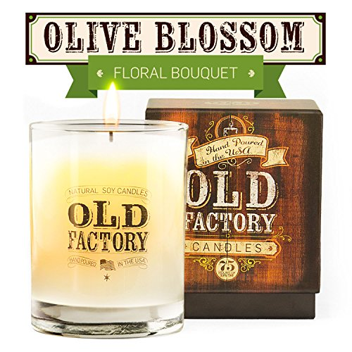 Blossom Soy Candle (Scented Candles - Olive Blossom - Decorative Aromatherapy - 11-Ounce Soy Candle - from Old Factory Candles)
