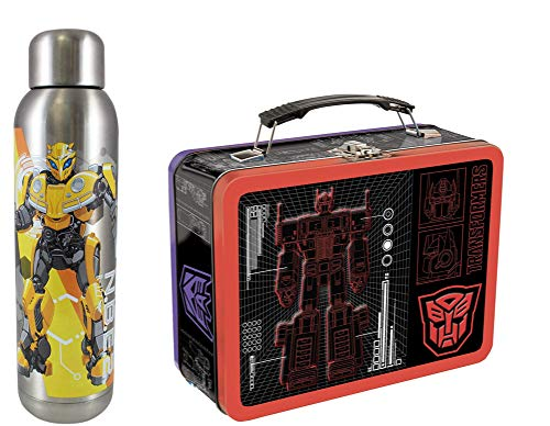 Vandor Transformers Large Tin Tote (41370) and Bumblebee 22 Ounce Stainless Steel Water Bottle (56259) Set of - Transformer Box Metal Lunch