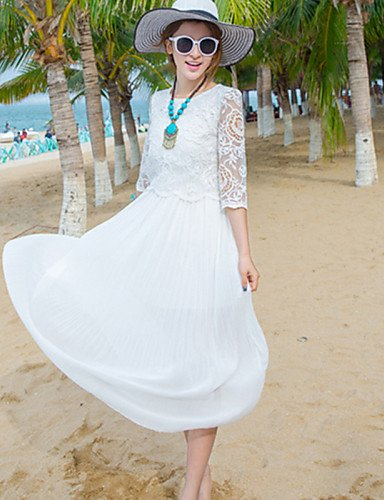 PU&PU Robe Aux femmes Swing Simple,Couleur Pleine Col Arrondi Midi Polyester , white-s , white-s