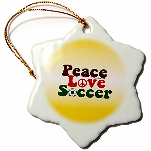 3dRose orn_12407_1 Peace Love Soccer on Yellow Porcelain Snowflake Ornament, 3-Inch by 3dRose