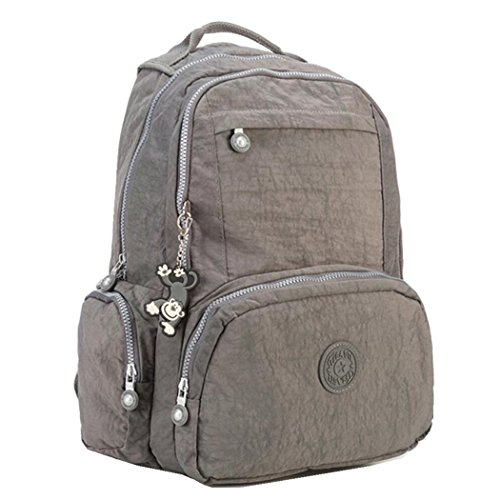 Price comparison product image 15 Inch Laptop Backpack Purse Thickened Nylon Casual Travel Daypack Water Resistant Shoulder Rucksack Womens SchoolBag with Cute Monkey Pendant (Gray)
