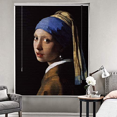 Patterned Aluminium Mini Window Blinds, The Girl, by Johannes Vermeer, 74W x 60L Inches, Premium 1-inch Blackout Light Filtering Horizontal Custom Blinds for Kitchen, Doors, Windows