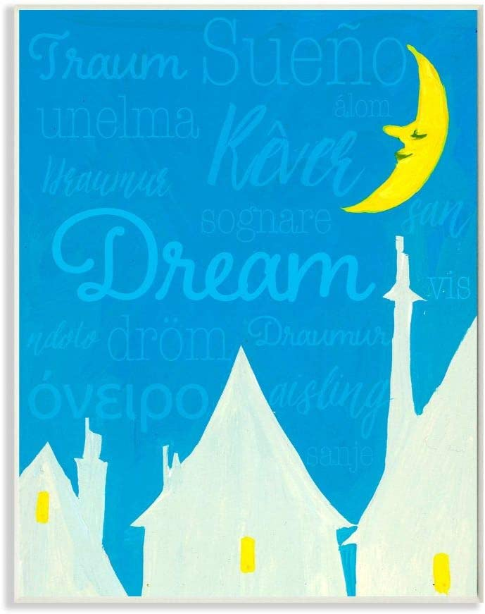 Stupell Industries Dream Home Moon Blue Kids Nursery Painting, Design by Artist The Saturday Evening Post Wall Art, 10 x 15, Wood Plaque
