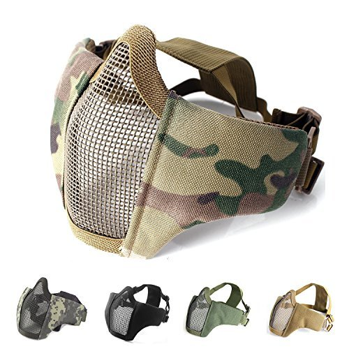 Unigear Airsoft Half Face Masks Steel Mesh Mask with Goggles Set for Hunting, Paintball, -