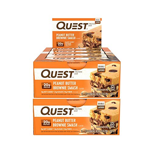 (Quest Nutrition Protein Bar Peanut Butter Brownie Smash Bar. Low Carb Meal Replacement Bar w/ 20g+ Protein. High Fiber, Soy-Free, Gluten-Free (24)