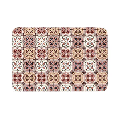 C COABALLA Quatrefoil Durable Door Mat,Vintage Style Patterns Tangled Clover Shapes Eastern Tessellation Illustration for Living Room,19.6
