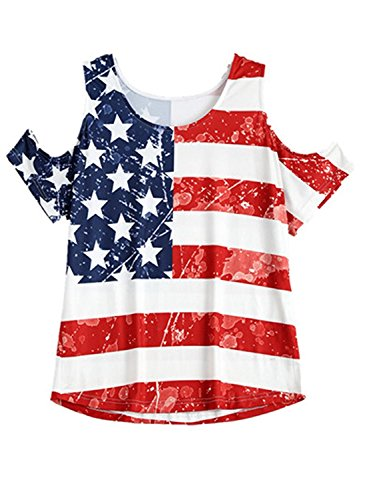 MAXIMGR Women's USA Flag Print Cold Shoulder Casual Loose T Shirt Top Blouse Size Medium (Stripe-1)